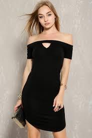 black off the shoulder short sleeve casual dress