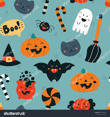 halloween repeating background patterns seamless pattern kawaii childish style halloween stock vector