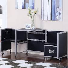leclair black and metal sliding retractable table and chairs set