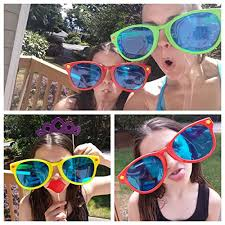Jumbo Halloween Costumes 6 Pack Colorful Jumbo Blue Lens Sunglasses U2013 Firebooth