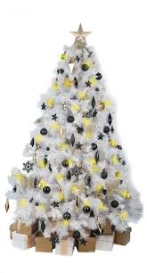white tree with black gold decorations