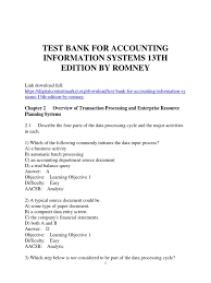 test bank for accounting information systems 13th edition by