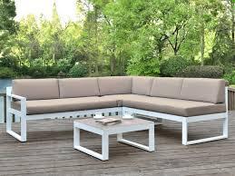 canap salon de jardin salon jardin palaos canapé angle relevable table taupe
