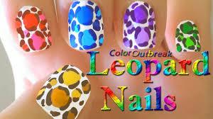 ღleopard print spots easy nail art designs colorful animal print