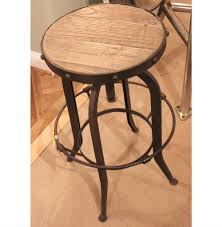 bryan industrial loft retro rustic pine swivel bar counter stool