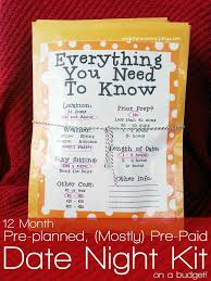 12 month pre planned mostly pre paid date night kit on a