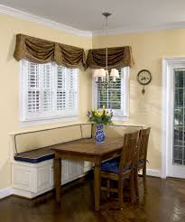 kitchen booth seating dining room transitional with alcove area