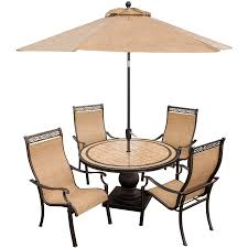 Dining Patio Set - monaco 5 piece dining set with 9 ft table umbrella monaco5pc su