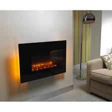 flat black glass 36 inch flat wall mounted electric fire