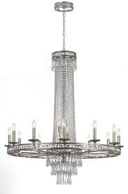 Rona Lighting Chandeliers 16 Light Olde Silver Chandelier Draped In Clear Cut