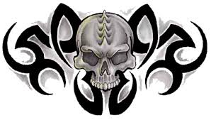 collection of 25 black and white tribal skull