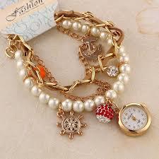 ladies pearl bracelet watches images 2014 beautiful bracelet watch rudder anchor lady quartz jpg