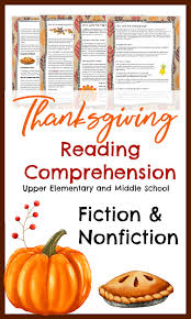thanksgiving reading comprehension for elementary and middle