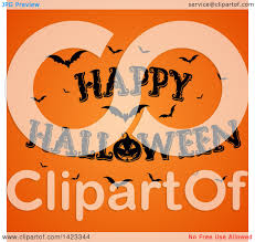 clipart of a happy halloween greeting with bats and a jackolantern