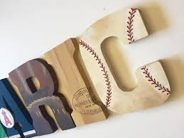 Decorating Wooden Letters Baseball Themed Letters Vintage Sports Home Decor Party