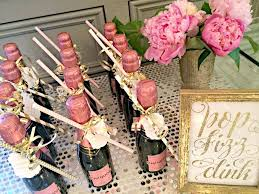 bridal luncheon favors bubbly bar blush pink gold bridal wedding shower party ideas