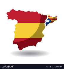Independence Flag Spain Map And Catalonia Flag Independence Vector Image