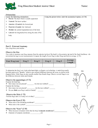 frog dissection student answer sheet name orientation
