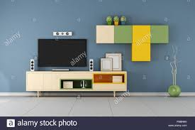 modern tv wall unit in a blue living room 3d rendering stock