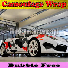 pixel car red white black arctic camo vinyl car wrap film with air rlease