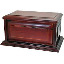 classic cherry finish wood urn raised panel