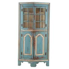 19th century american blue painted corner cabinet in eastern shore