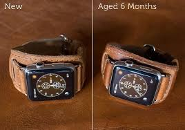 vintage leather bracelet watches images Mid century leather cuff apple watch bands pad quill jpg
