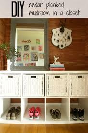 diy cedar planked mudroom in closet
