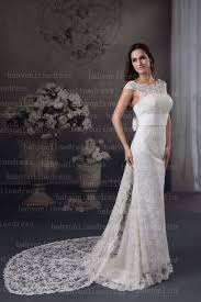 long short white lace wedding dresses with elengent sleeves square