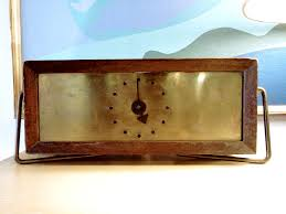 brass industrial desk clock modernism mod mcm mid century