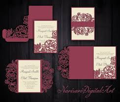 wedding invitation pocket envelopes peonies set cricut wedding invitation template gate fold tri