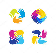isolated abstract colorful children hands together logo set kids