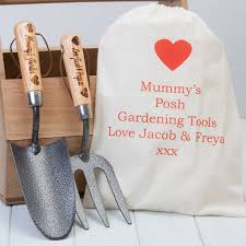 personalised garden trowel and fork set by british and bespoke