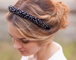 beaded headband black bead headband etsy