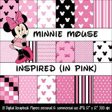 minnie mouse inspired pink polka dot u0026 bow digital paper pack