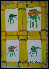 pinterest bricolage enfant empreintes de mains tortues ninja pour cadre en carton bricolage
