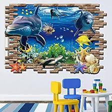 3d Wallpaper For Home Wall India Buy New Sea Whale Fish 3d Wall Stickers For Kids Room Removable