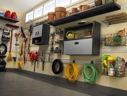 Exterior Garage Design Inspiration With Metal Storage Also Wall