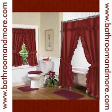 Fabric Shower Curtains With Matching Window Curtains Rust Red Fabric Double Swag Shower Curtain With Matching Window