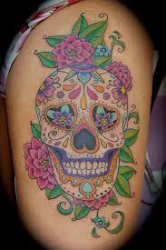small flower sugar skull tattoos design idea for and