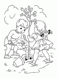 children plant tree coloring page for kids spring coloring pages