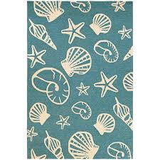 Couristan Outdoor Rugs Couristan Outdoor Escape Cardita Shells Turquoise Ivory Indoor