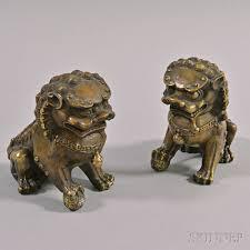foo lions for sale pair of bronzed metal foo lion figures sale number 2938t lot