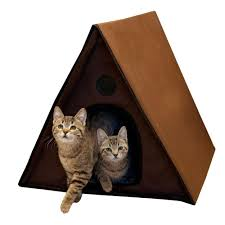 A Frame House by K U0026h Pet Products Outdoor Heated Kitty A Frame House 3992 The