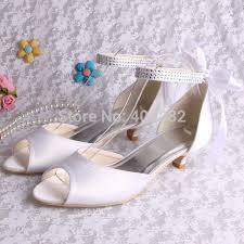 ivory satin wedding shoes aliexpress buy wedopus lace up s fashion low heel
