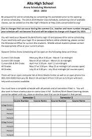 scheduling worksheet alta high