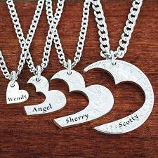 necklaces with names engraved 4 best friends heart necklaces custom names engraved friendships