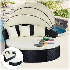 patio outdoor caise lounge furniture with umbrella round daybed