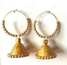 gold jhumka hoop earrings quilled hoop earrings beautify themselves with earrings