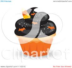 clipart halloween cupcake with black frosting an orange wrapper